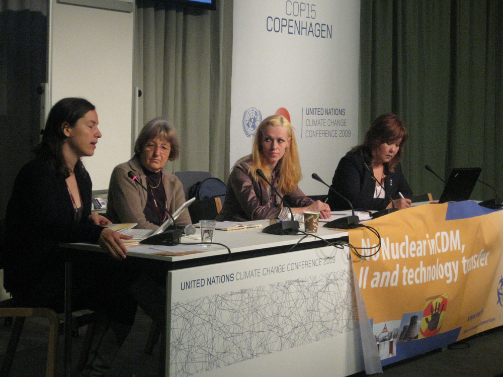 Side event 12 December of WECF/WISE/Ecodefense/Greenpeace/Urnweltinstitut Munchen e.v./International Forum of Globalization/Reseau Sortir du nucleair Nadezhda Kutepova presents satiation on Mayak enterprise for nuclear waste processing as an example of hu